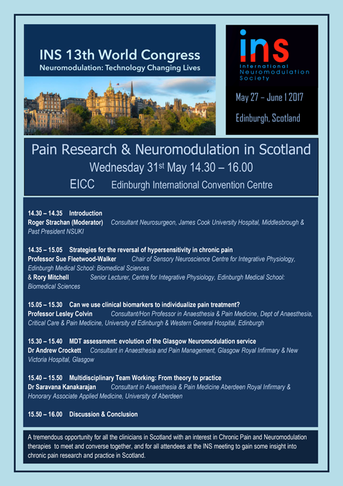 Pain Research and Neuromodulation in Scotland flyer