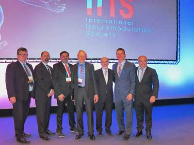 Group with Dr. Michael Stanton-Hicks, 2017 INS Giant of Neuromodulation